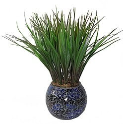 Laura Ashley Grass in Turquoise and Brown Mosaic Container (Set of 2)