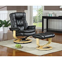 New Creations SoHo European Black Chair/ Ottoman