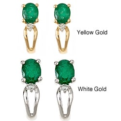 D'Yach 14k Gold Zambian Emerald and Diamond Earrings