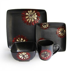 American Atelier Camile Red/ White 16-piece Dinnerware Set