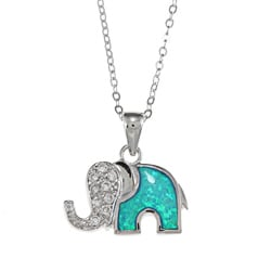 La Preciosa Sterling Silver Created Opal and CZ Elephant Necklace