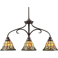 Aztec Lighting Tiffany-style 3-light Bronze Island Light