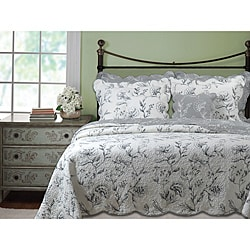 Paloma Grey / Ivory Oversized 3-piece Quilt Set
