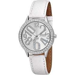 Vernier Woman's Silver Sparkle Fun Numeral White Strap Watch