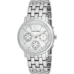 Vernier Women's 'V11005' Silver Sparkle Chronograph Watch