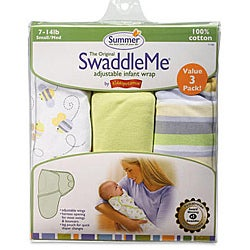 Summer Infant Busy Bees Small SwaddleMe Blankets (Pack of 3)