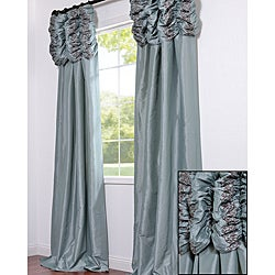 Ruched Header Sea Green Embroidered Faux Silk Taffeta 84-inch Curtain Panel