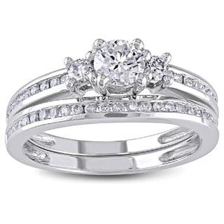Miadora Signature Collection 14k White Gold 1ct TDW Diamond Bridal Ring Set (G-H, I1-I2)