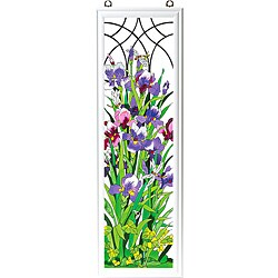 Hand-painted 'Iris Trellis' Art Wood Frame Panel