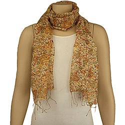 Hand-spun Silk Yellow Floral Scarf (India)