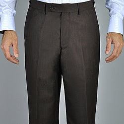 Men's Brown Flat Front Pants