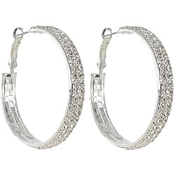 Roman Silvertone Clear Crystal Hoop Earrings