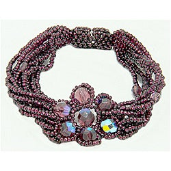 Purple Glass Bead Magnetic Flower Bracelet (Guatemala)