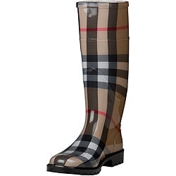 Burberry 3201798 Women&#39;s Beige House-check Mid-calf Rubber Rain Boots