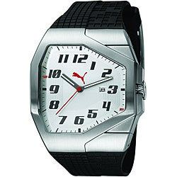 Puma Unisex Track Silver and White Watch