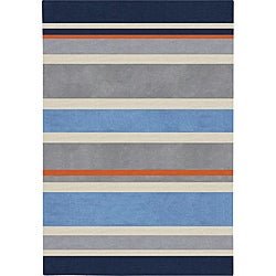 Hand-tufted Grey Bipes Stripe Rug (6' x 9')