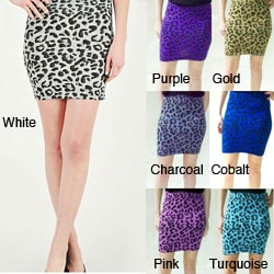 Tabeez Women's Leopard Stretch Mini Skirt