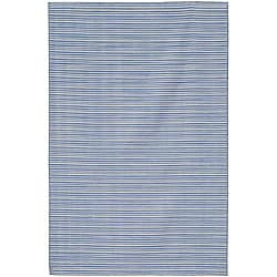 Flat Weave Blue Wool Area Rug (9' x 12')