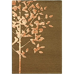 Hand-tufted Wool and Art Silk Brown Rug (2' x 3')