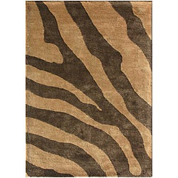 Hand-tufted Wool and Art Silk Brown Zebra Print Rug (8' x 11')