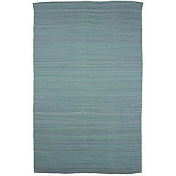Flat Weave Solid Blue Wool Rug (8' x 10')