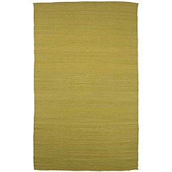 Flat Weave Green Wool Rug (4&#39; x 6&#39;)