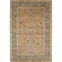 Hand-tufted Sand Brown/ Grey Wool Rug (9'6 x 13'6)