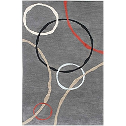 Hand-tufted Grey/ Red Wool Rug (8' x 11')