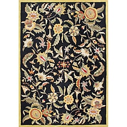 Handmade 'Metro Flower' Black New Zealand Blended Wool Rug (8' x 10')