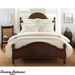 Tommy Bahama 'Cane' Emboidered Ivory/ Blue King-size Duvet Cover