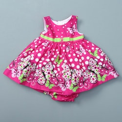 Rare Editions Infant Girl's Butterfly and Dot Dress