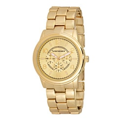 Vernier Women's V200 Round Gold Tone Chrono Look Bracelet Watch