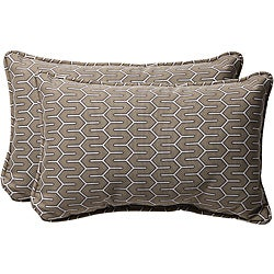Pillow Perfect Decorative Contemporary Taupe Outdoor Toss Pillows (Set of 2)