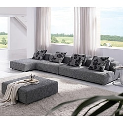 Modern Zebrano Fabric Sectional Sofa