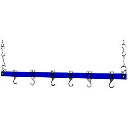 Concept Housewares Blue Acrylic Dual Track Ceiling Pot Rack
