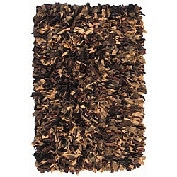 Hand-woven Brown Premium Leather Shag Area Rug (8' x 10')