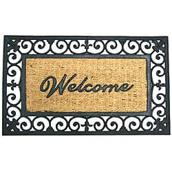Rubber-Cal &#39;Welcome to Your Fortress&#39; Rubber Coir Door Mat (18 x 30)