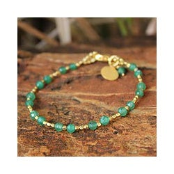 Gold Overlay &#39;Green Divine Deva&#39; Quartz Bracelet (Thailand)