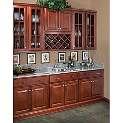 Rich Cherry Wall Mullion Door 24-inch Cabinet