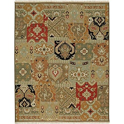 Hand-knotted Green/ Red Wool Rug (10' x 14')