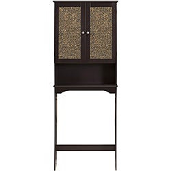 Fifth Avenue Espresso/ Amber Glass Tower Cabinet