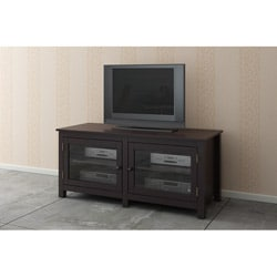 Espresso/ Glass Doors TV LCD Stand Console