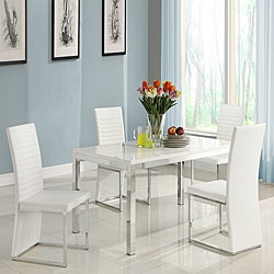 ETHAN HOME Reynold White Metal Sleek Modern 5-piece Dining Set