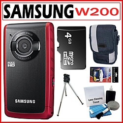 Samsung W200 Rugged Full HD 1080p Red Pocket Camcorder with 4GB Kit