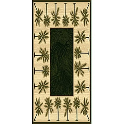 Oasis Palm Design-5 Tan Polypropylene/ Olefin Area Rug (5' x 7')