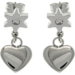 CGC Stainless Steel CZ Flower Heart Drop Earrings
