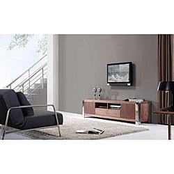 'Maya' Light Walnut Stainless Steel TV Stand