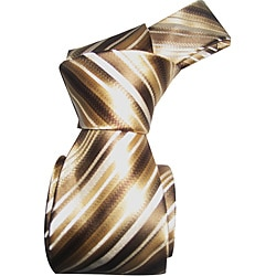 Dmitry Men's Tan Striped Italian Silk Tie