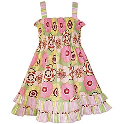 AnnLoren Girls Mod Floral Ruffled Smocked Sundress
