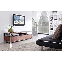Adrianna Light Walnut/ Stainless Steel Modern TV Stand